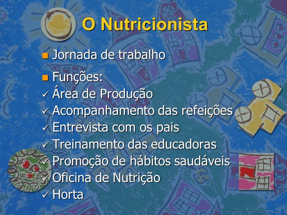 O Nutricionista n Jornada de trabalho n Funções: Área de Produção Área de Produção Acompanhamento das refeições Acompanhamento das refeições Entrevist