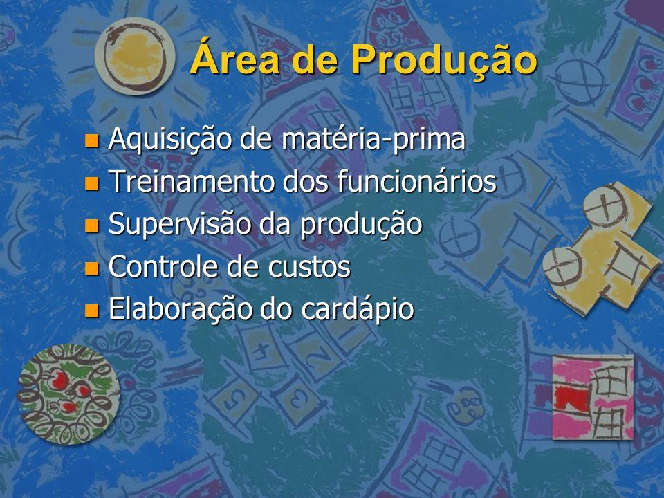 Área de Produção n Aquisição de matéria-prima n Treinamento dos funcionários n Supervisão da produção n Controle de custos n Elaboração do cardápio