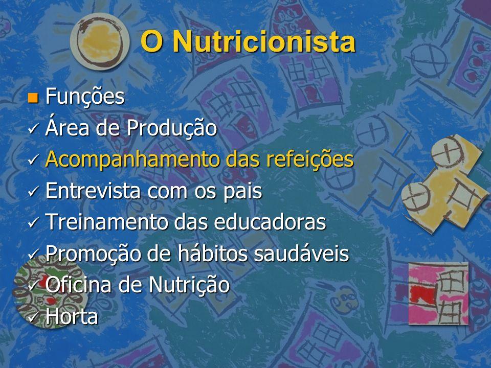 O Nutricionista n Funções Área de Produção Área de Produção Acompanhamento das refeições Acompanhamento das refeições Entrevista com os pais Entrevist