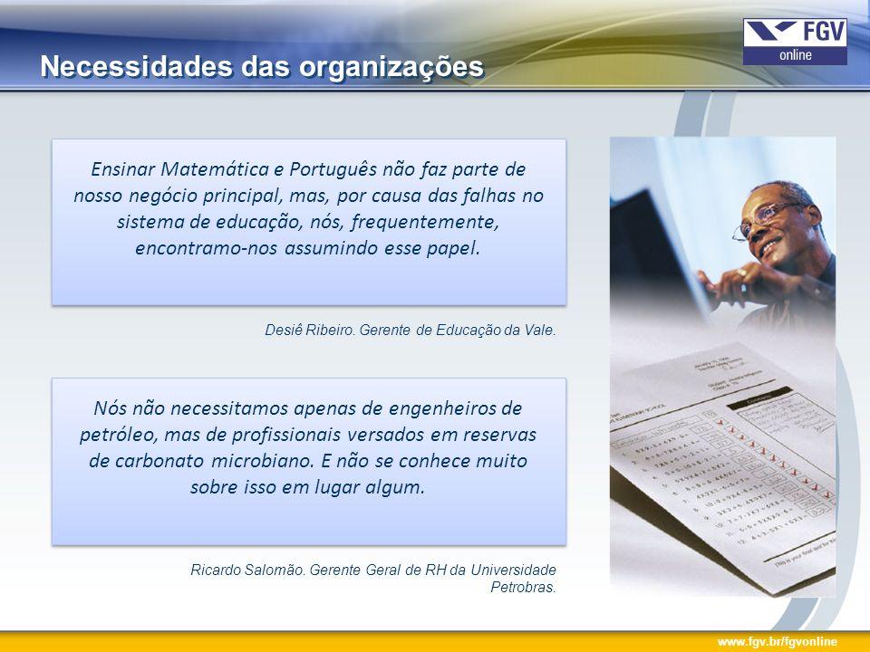 www.fgv.br/fgvonline Papel das Universidades Corporativas O que nós fazemos é preencher a lacuna deixada pelas instituições acadêmicas – uma lacuna com a qual as empresas não podem sobreviver.