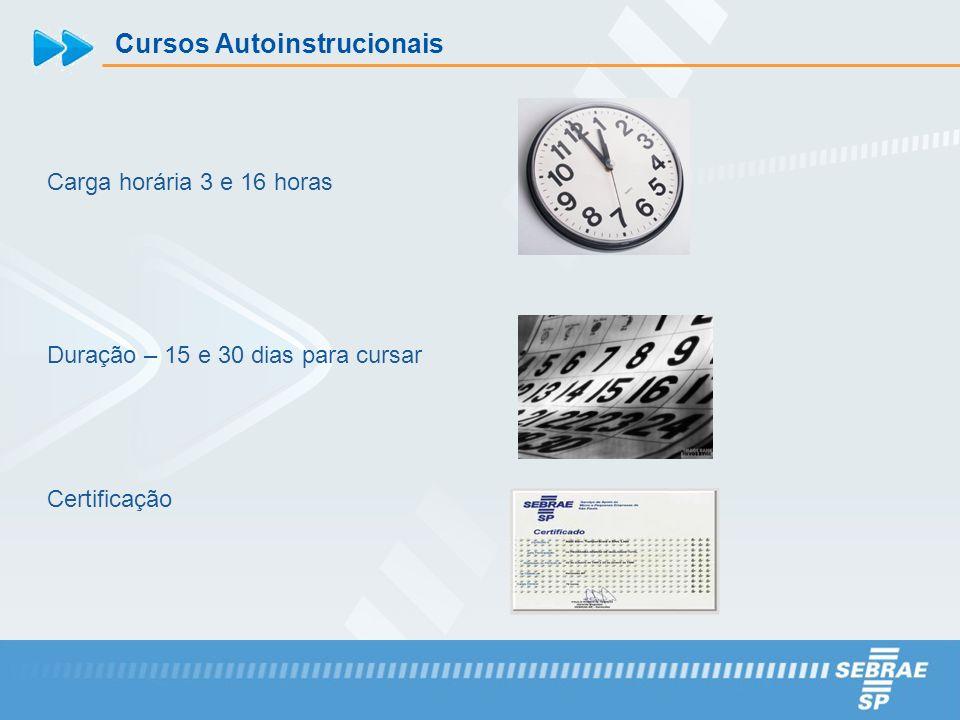 Cursos Autoinstrucionais Carga horária 3 e 16 horas Duração – 15 e 30 dias para cursar Certificação