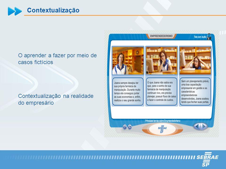 Contextualização O aprender a fazer por meio de casos fictícios Contextualização na realidade do empresário