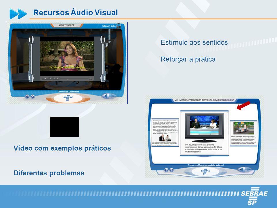 Recursos Áudio Visual Vídeo com exemplos práticos Diferentes problemas Estímulo aos sentidos Reforçar a prática