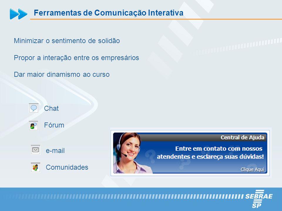 Ferramentas de Comunicação Interativa Minimizar o sentimento de solidão Propor a interação entre os empresários Dar maior dinamismo ao curso Chat Fóru