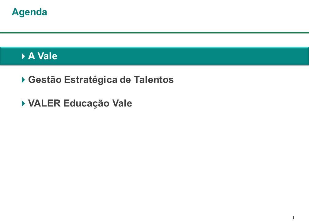1 A Vale Gestão Estratégica de Talentos VALER Educação Vale Agenda