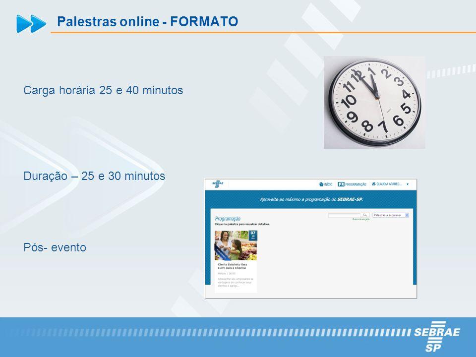 Palestras online - FORMATO Carga horária 25 e 40 minutos Duração – 25 e 30 minutos Pós- evento
