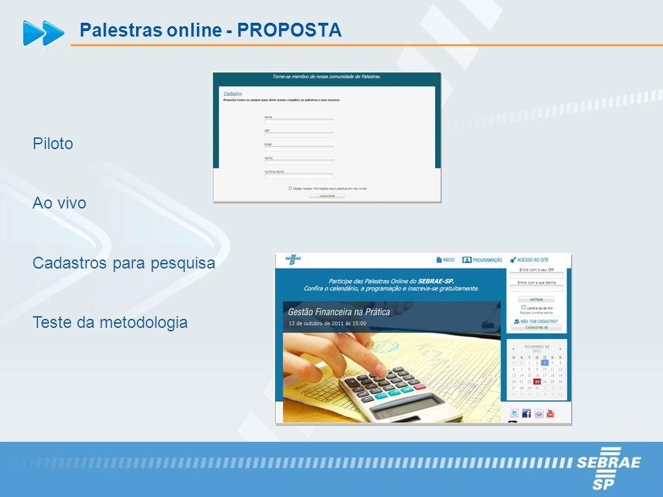 Palestras online - PROPOSTA Piloto Ao vivo Cadastros para pesquisa Teste da metodologia