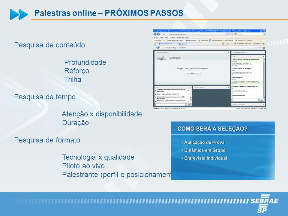 Palestras online – PRÓXIMOS PASSOS Pesquisa de conteúdo: Profundidade Reforço Trilha Pesquisa de tempo Atenção x disponibilidade Duração Pesquisa de f