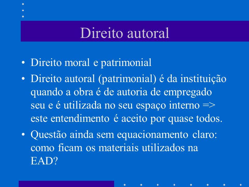 Direito autoral Direito moral e patrimonial Direito autoral (patrimonial) é da instituição quando a obra é de autoria de empregado seu e é utilizada no seu espaço interno => este entendimento é aceito por quase todos.