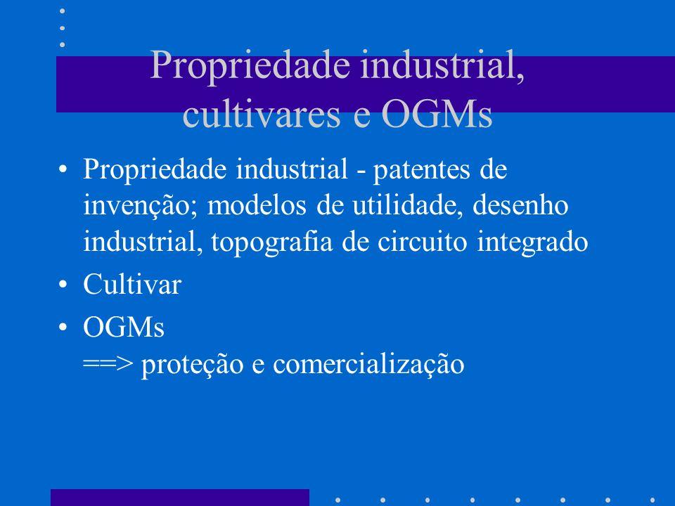 Propriedade industrial, cultivares e OGMs Propriedade industrial - patentes de invenção; modelos de utilidade, desenho industrial, topografia de circuito integrado Cultivar OGMs ==> proteção e comercialização