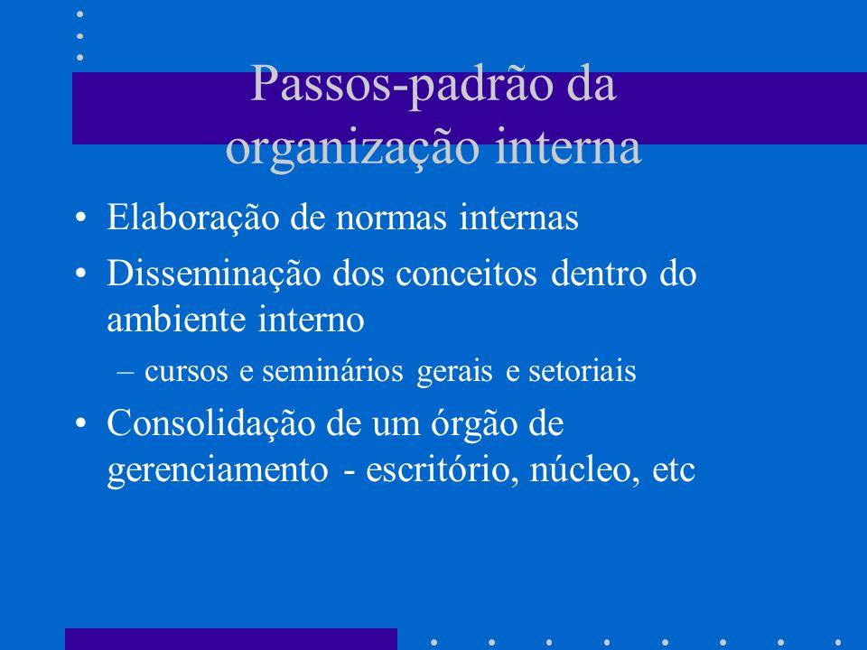 Passos-padrão da organização interna Elaboração de normas internas Disseminação dos conceitos dentro do ambiente interno –cursos e seminários gerais e setoriais Consolidação de um órgão de gerenciamento - escritório, núcleo, etc