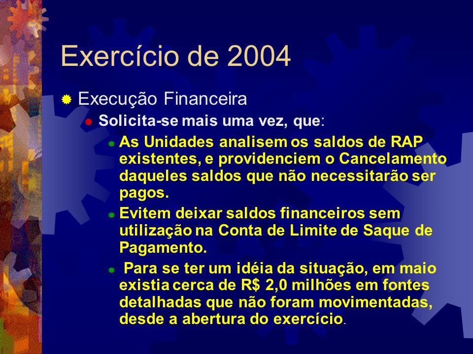 Exercício de 2004 Execução Financeira Solicita-se mais uma vez, que: As Unidades analisem os saldos de RAP existentes, e providenciem o Cancelamento d