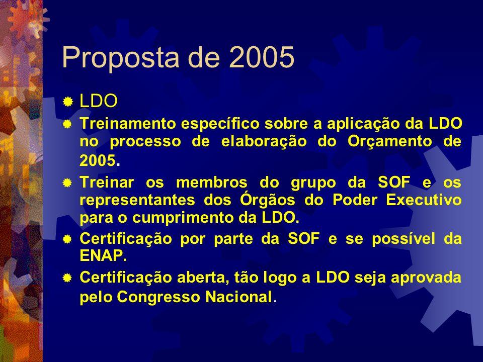 Proposta de 2005 LDO Treinamento específico sobre a aplicação da LDO no processo de elaboração do Orçamento de 2005. Treinar os membros do grupo da SO
