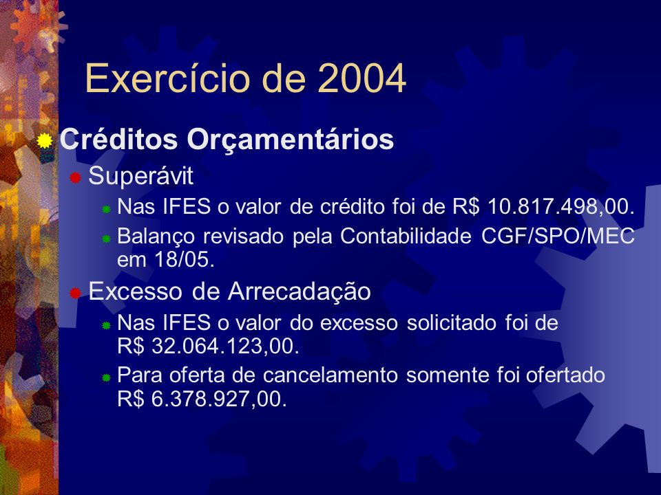 Exercício de 2004 Créditos Orçamentários Superávit Nas IFES o valor de crédito foi de R$ 10.817.498,00. Balanço revisado pela Contabilidade CGF/SPO/ME