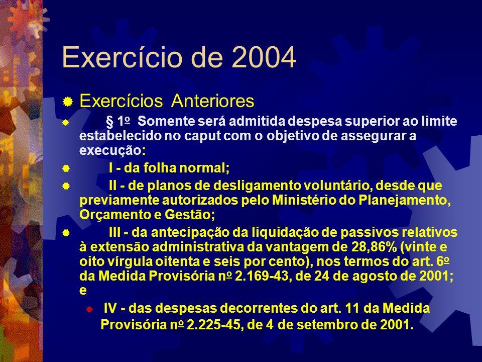 Exercício de 2004 Exercícios Anteriores § 1 o Somente será admitida despesa superior ao limite estabelecido no caput com o objetivo de assegurar a exe