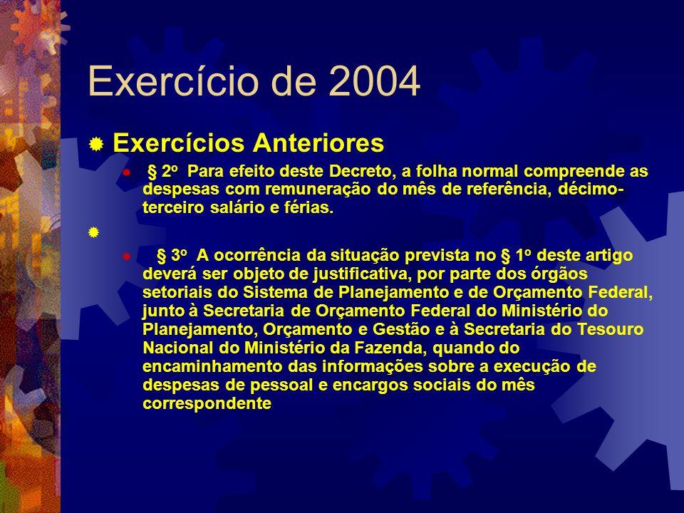 Exercício de 2004 Exercícios Anteriores § 2 o Para efeito deste Decreto, a folha normal compreende as despesas com remuneração do mês de referência, d