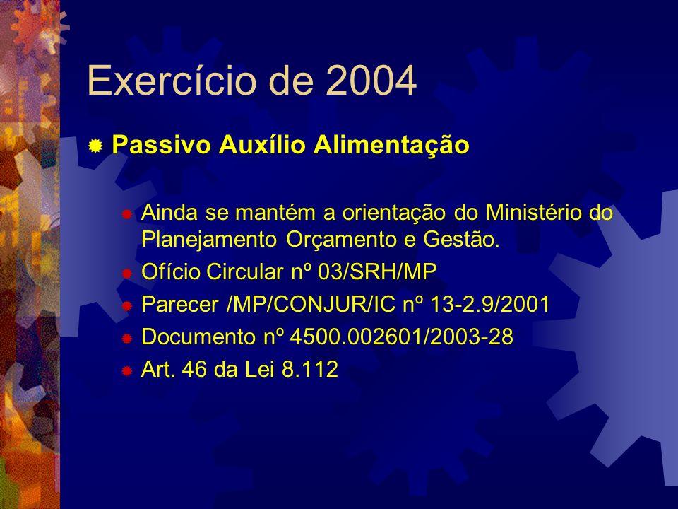 Exercício de 2004 Passivo Auxílio Alimentação Ainda se mantém a orientação do Ministério do Planejamento Orçamento e Gestão. Ofício Circular nº 03/SRH