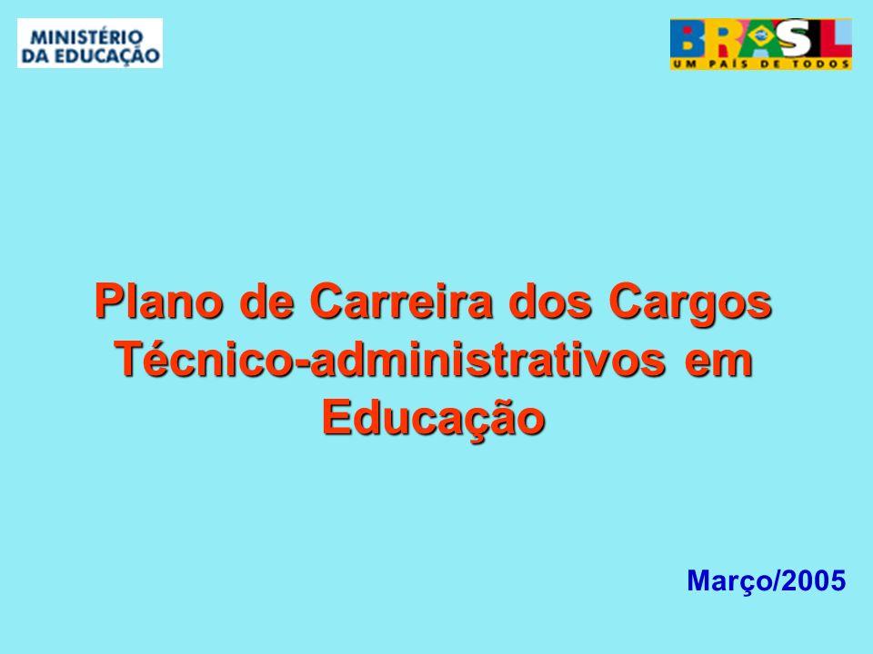 Março/2005 Plano de Carreira dos Cargos Técnico-administrativos em Educação