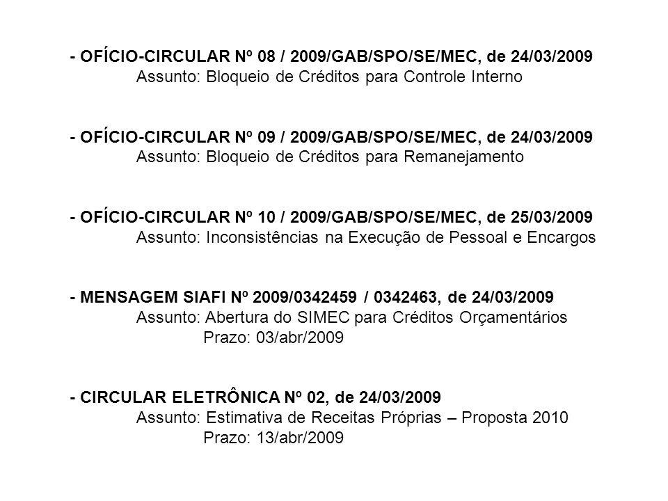 - OFÍCIO-CIRCULAR Nº 08 / 2009/GAB/SPO/SE/MEC, de 24/03/2009 Assunto: Bloqueio de Créditos para Controle Interno - OFÍCIO-CIRCULAR Nº 09 / 2009/GAB/SP