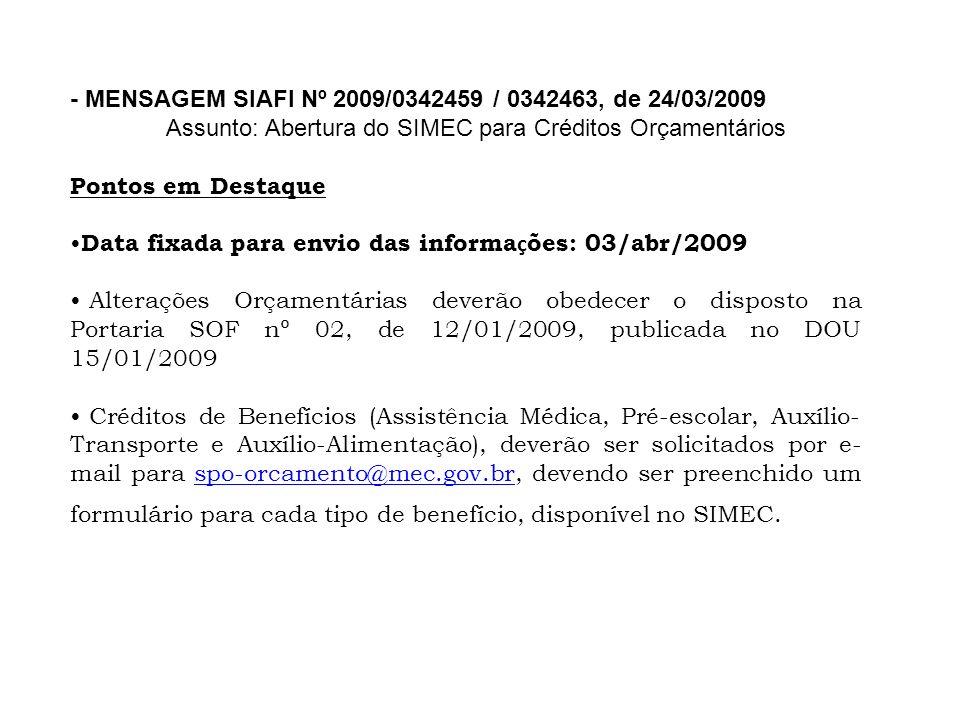 - MENSAGEM SIAFI Nº 2009/0342459 / 0342463, de 24/03/2009 Assunto: Abertura do SIMEC para Créditos Orçamentários Pontos em Destaque Data fixada para e