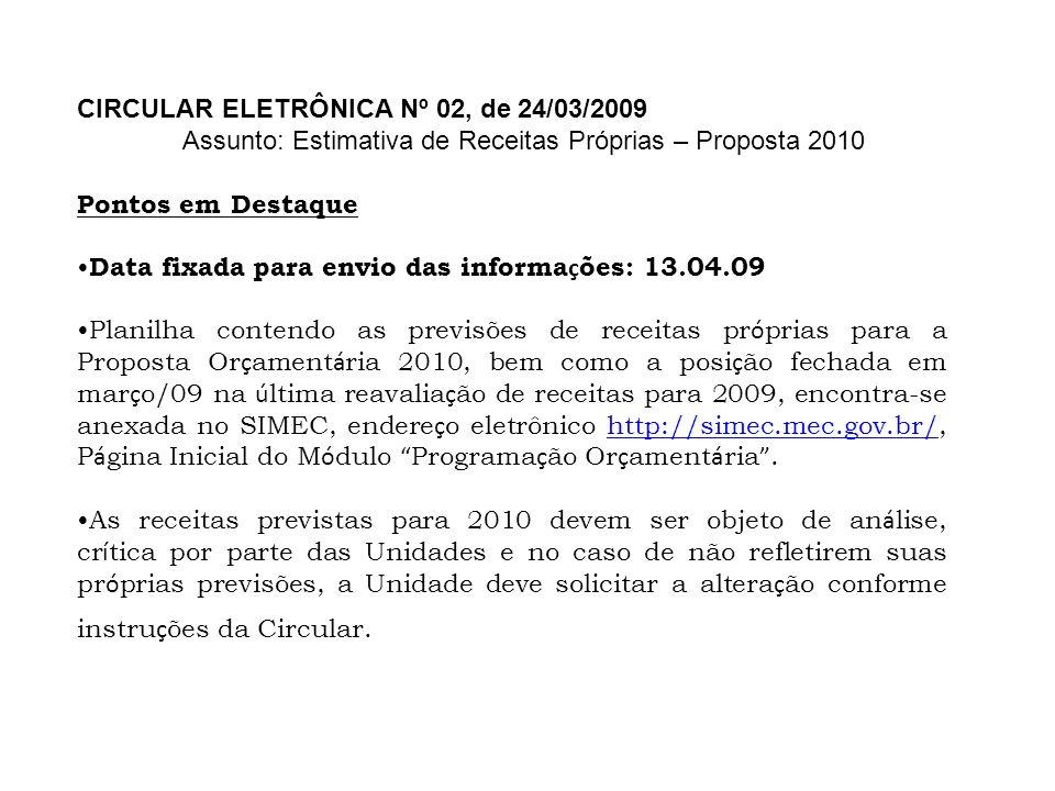 CIRCULAR ELETRÔNICA Nº 02, de 24/03/2009 Assunto: Estimativa de Receitas Próprias – Proposta 2010 Pontos em Destaque Data fixada para envio das inform