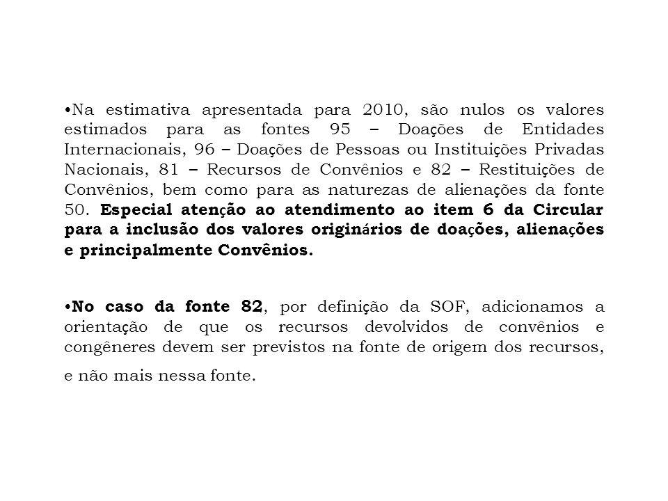 Na estimativa apresentada para 2010, são nulos os valores estimados para as fontes 95 – Doa ç ões de Entidades Internacionais, 96 – Doa ç ões de Pesso