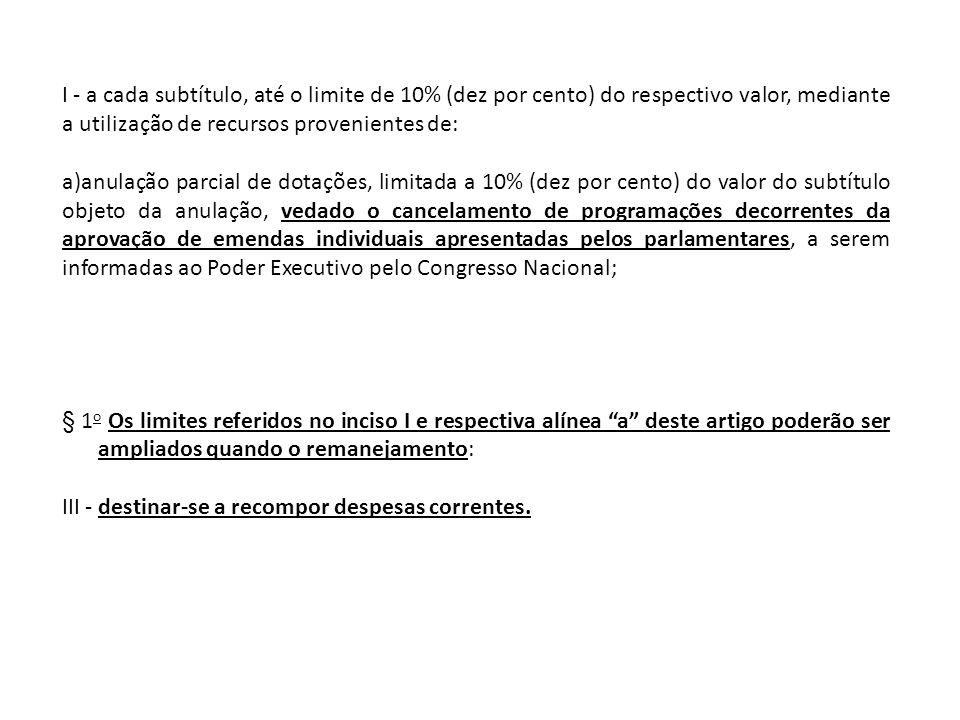 I - a cada subtítulo, até o limite de 10% (dez por cento) do respectivo valor, mediante a utilização de recursos provenientes de: a)anulação parcial d