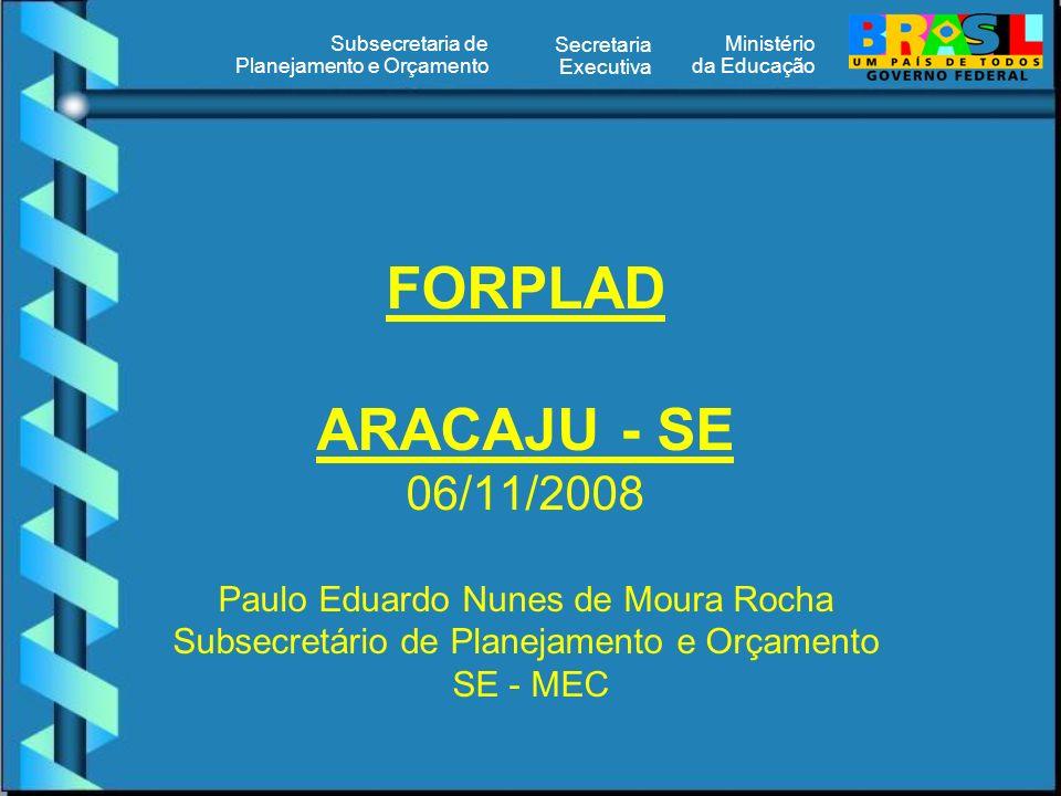 Ministério da Educação Secretaria Executiva Subsecretaria de Planejamento e Orçamento FORPLAD ARACAJU - SE 06/11/2008 Paulo Eduardo Nunes de Moura Rocha Subsecretário de Planejamento e Orçamento SE - MEC