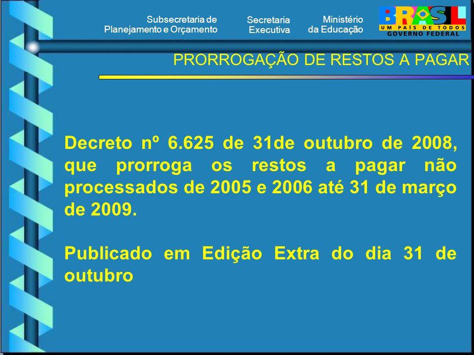 Ministério da Educação Secretaria Executiva Subsecretaria de Planejamento e Orçamento PRORROGAÇÃO DE RESTOS A PAGAR Decreto nº 6.625 de 31de outubro de 2008, que prorroga os restos a pagar não processados de 2005 e 2006 até 31 de março de 2009.