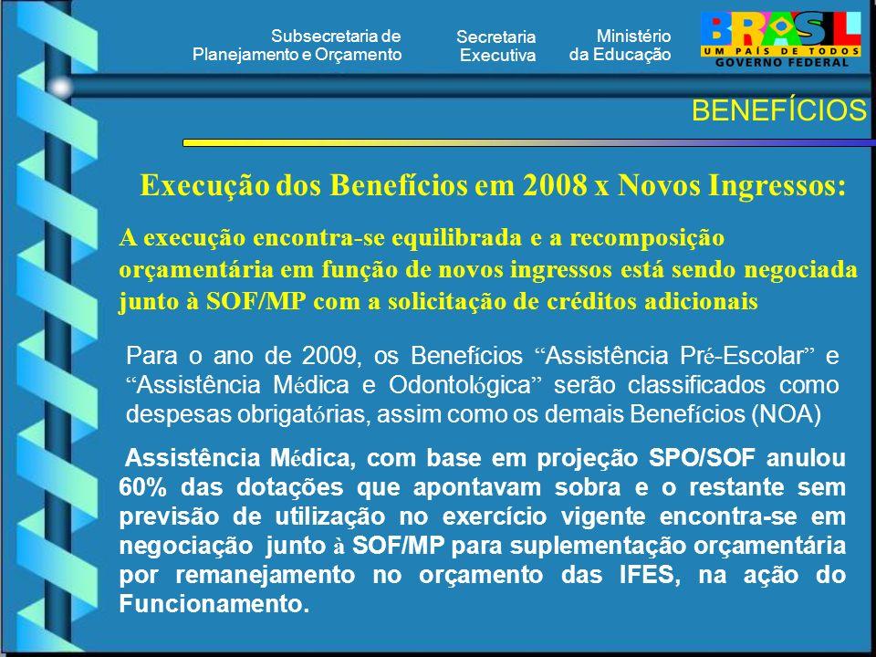 Ministério da Educação Secretaria Executiva Subsecretaria de Planejamento e Orçamento BENEFÍCIOS Para o ano de 2009, os Benef í cios Assistência Pr é