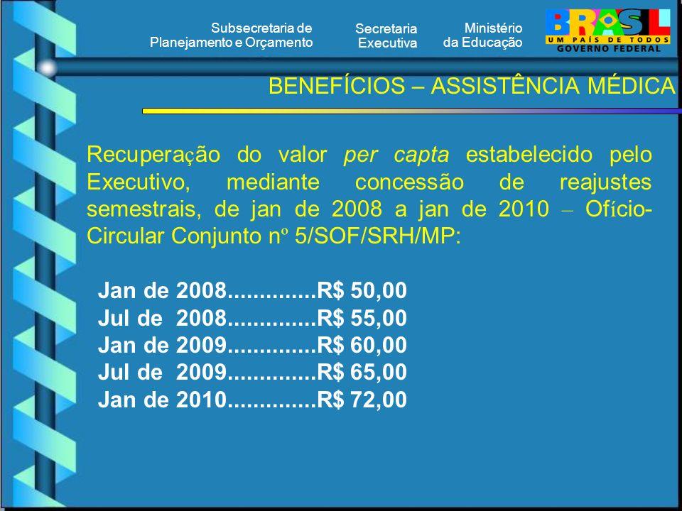 Ministério da Educação Secretaria Executiva Subsecretaria de Planejamento e Orçamento BENEFÍCIOS – ASSISTÊNCIA MÉDICA Recupera ç ão do valor per capta estabelecido pelo Executivo, mediante concessão de reajustes semestrais, de jan de 2008 a jan de 2010 – Of í cio- Circular Conjunto n º 5/SOF/SRH/MP: Jan de 2008..............R$ 50,00 Jul de 2008..............R$ 55,00 Jan de 2009..............R$ 60,00 Jul de 2009..............R$ 65,00 Jan de 2010..............R$ 72,00