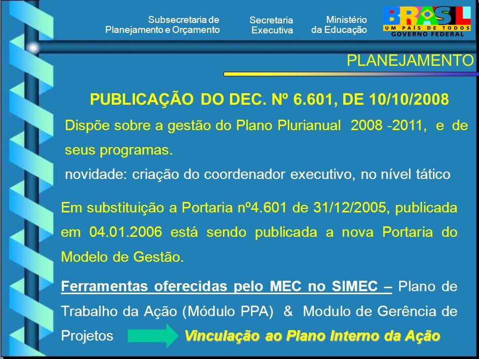Ministério da Educação Secretaria Executiva Subsecretaria de Planejamento e Orçamento PLANEJAMENTO PUBLICAÇÃO DO DEC.