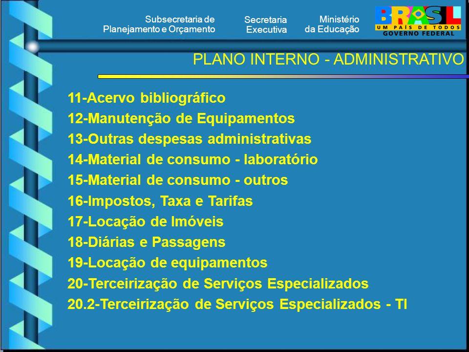 Ministério da Educação Secretaria Executiva Subsecretaria de Planejamento e Orçamento 11-Acervo bibliográfico 12-Manutenção de Equipamentos 13-Outras