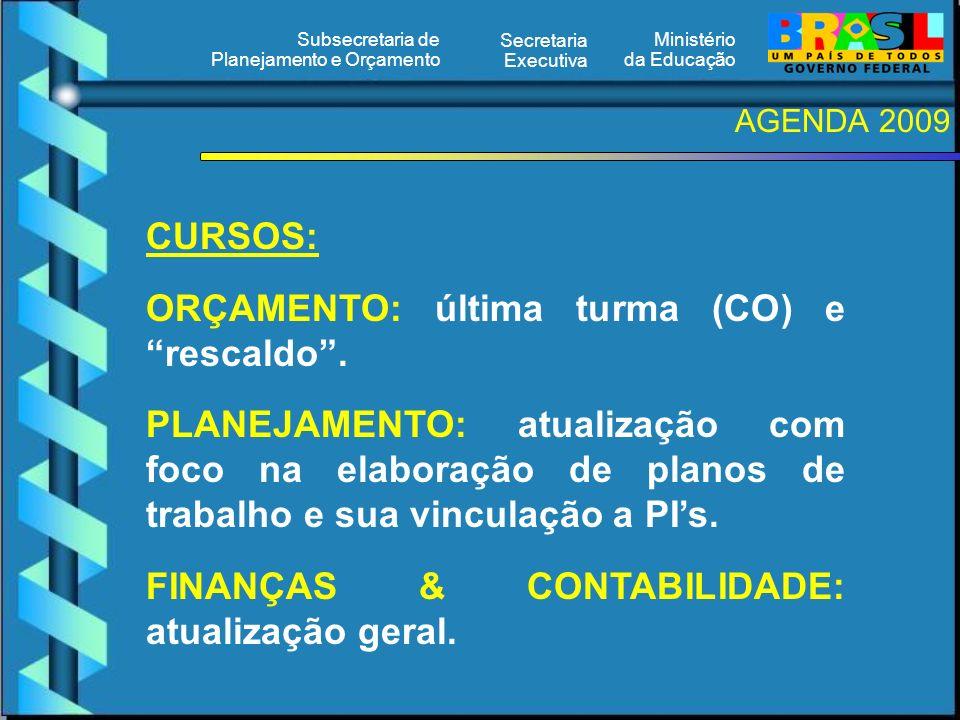 Ministério da Educação Secretaria Executiva Subsecretaria de Planejamento e Orçamento AGENDA 2009 CURSOS: ORÇAMENTO: última turma (CO) e rescaldo. PLA