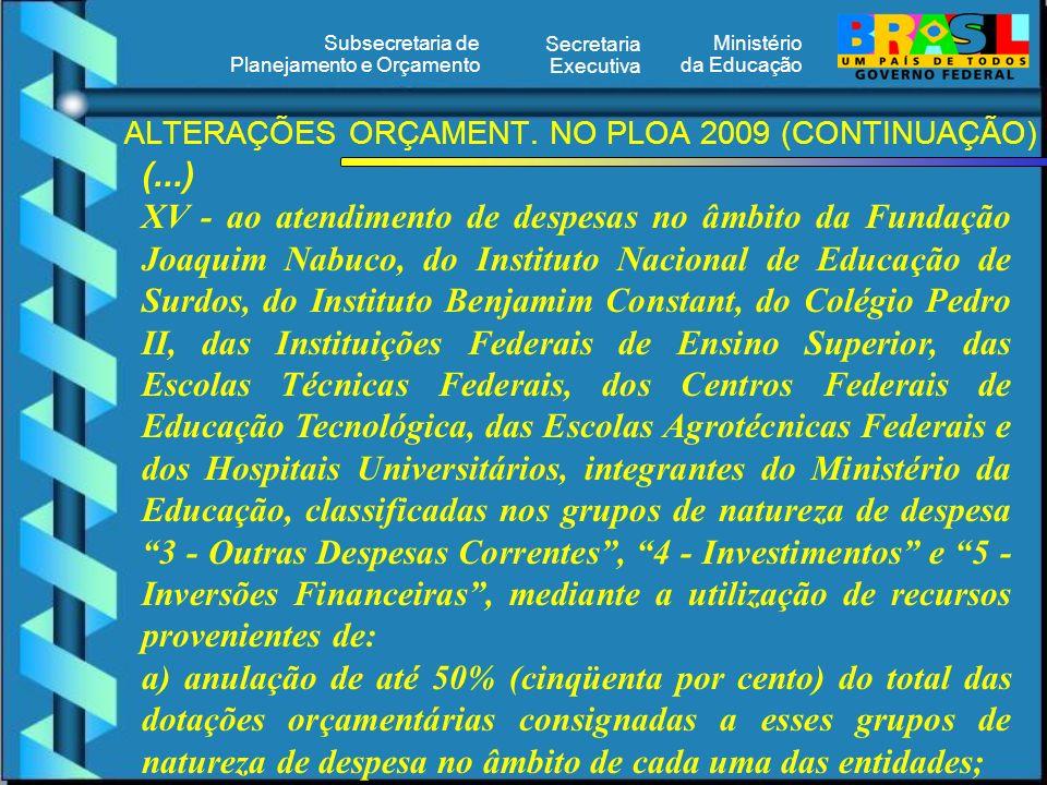 Ministério da Educação Secretaria Executiva Subsecretaria de Planejamento e Orçamento ALTERAÇÕES ORÇAMENT. NO PLOA 2009 (CONTINUAÇÃO) (...) XV - ao at