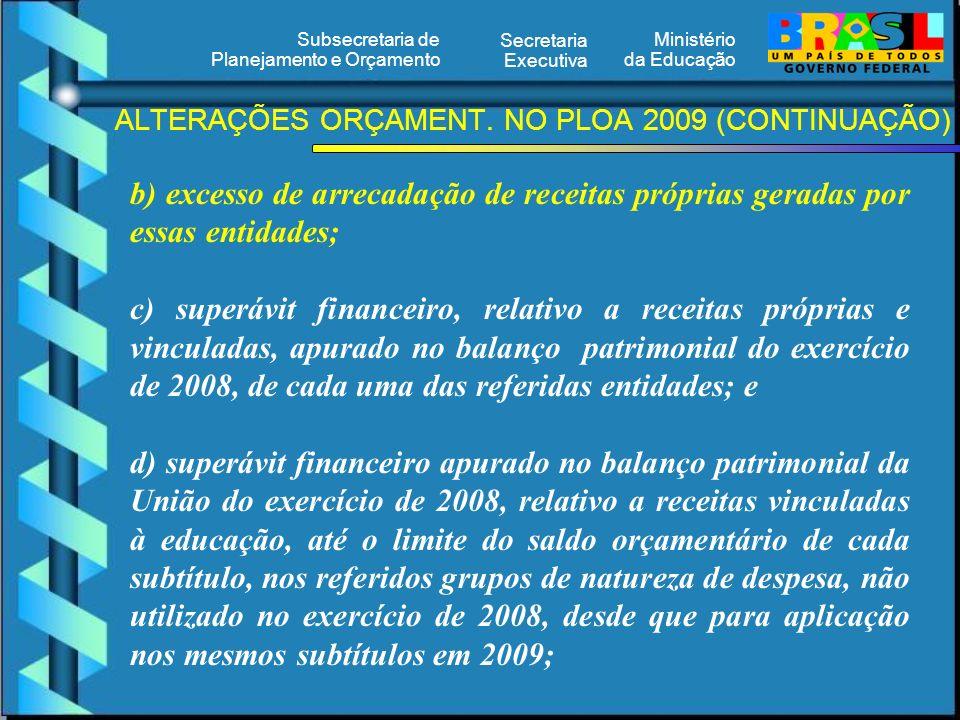 Ministério da Educação Secretaria Executiva Subsecretaria de Planejamento e Orçamento ALTERAÇÕES ORÇAMENT. NO PLOA 2009 (CONTINUAÇÃO) b) excesso de ar
