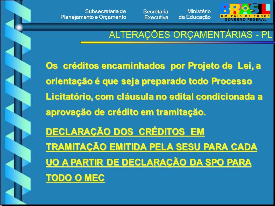 Ministério da Educação Secretaria Executiva Subsecretaria de Planejamento e Orçamento ALTERAÇÕES ORÇAMENTÁRIAS - PL Os créditos encaminhados por Proje