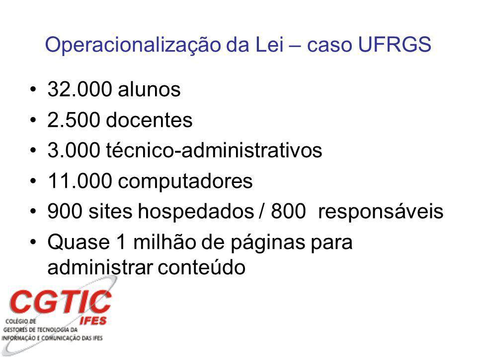 Operacionalização da Lei – caso UFRGS 32.000 alunos 2.500 docentes 3.000 técnico-administrativos 11.000 computadores 900 sites hospedados / 800 responsáveis Quase 1 milhão de páginas para administrar conteúdo