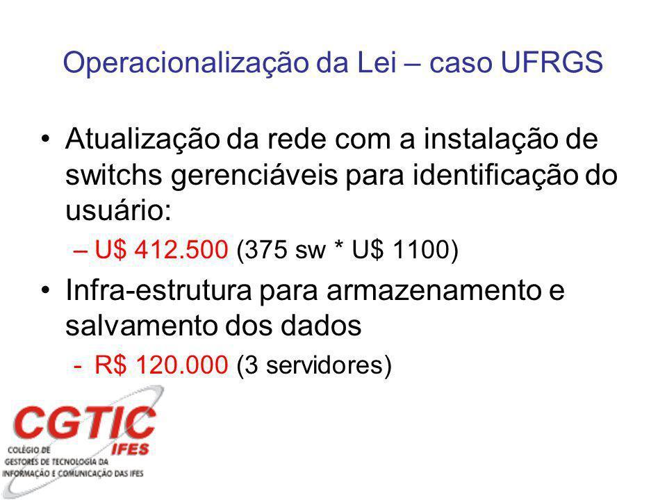 Atualização da rede com a instalação de switchs gerenciáveis para identificação do usuário: –U$ 412.500 (375 sw * U$ 1100) Infra-estrutura para armazenamento e salvamento dos dados -R$ 120.000 (3 servidores) Operacionalização da Lei – caso UFRGS