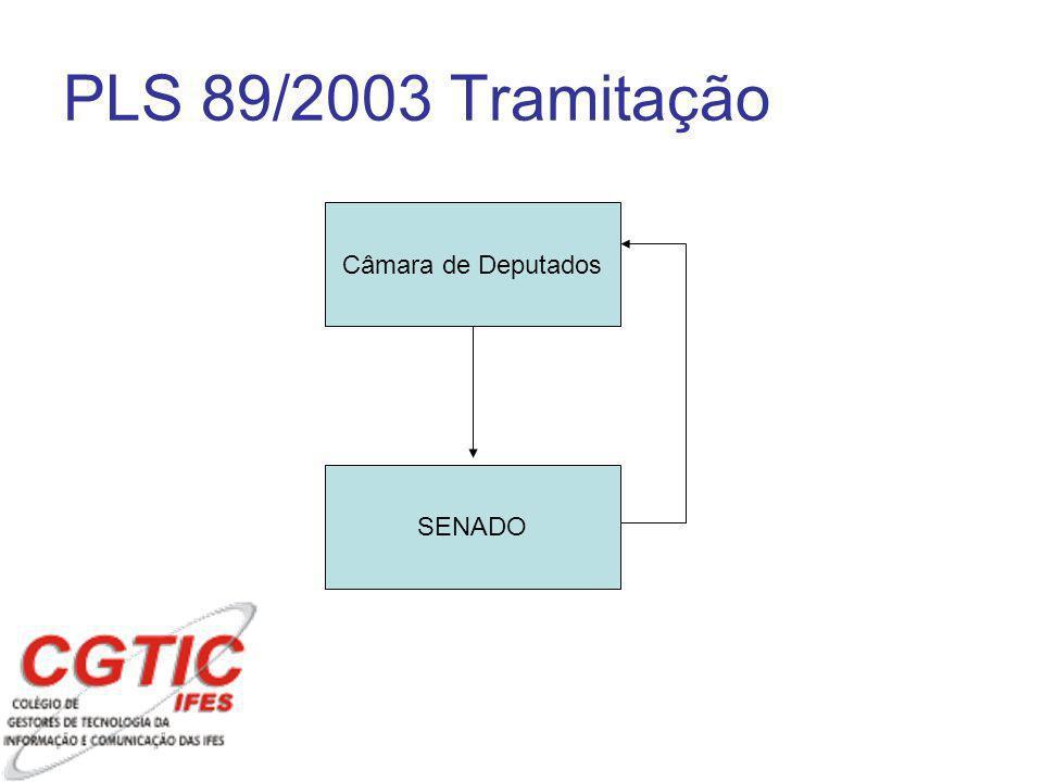 PLS 89/2003 Tramitação Câmara de Deputados SENADO