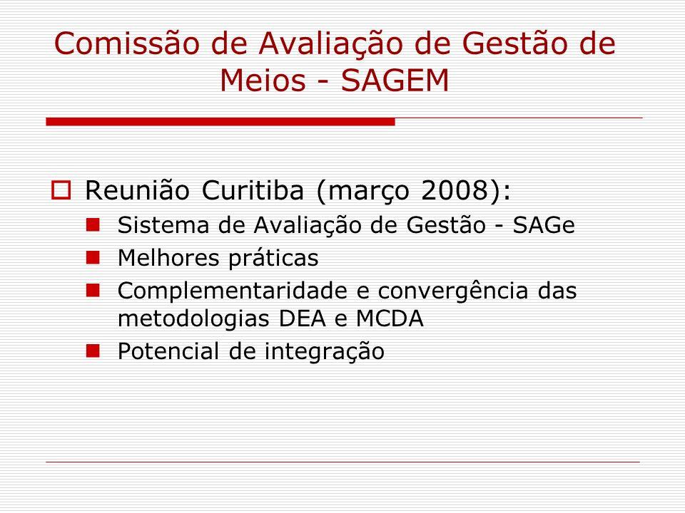 Comissão de Avaliação de Gestão de Meios - SAGEM Reunião Curitiba (março 2008): Sistema de Avaliação de Gestão - SAGe Melhores práticas Complementarid