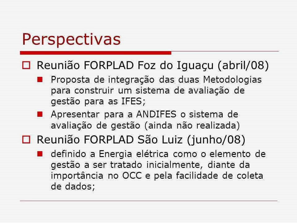 Perspectivas Reunião FORPLAD Salvador(setembro/08) Apresentação do sistema de avaliação de gestão de EE com os critérios/variáveis Exemplo da funcionalidade do sistema para MCDA Para a metodologia DEA a equipe está modelando os inputs e outputs (out/08) Reunião FORPLAD Aracaju (novembro/08) Simulação do sistema de avaliação de gestão com dados reais das IFES que participam do SAGEM