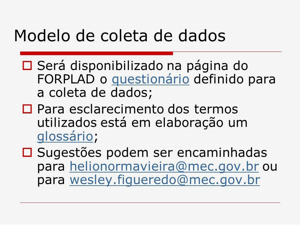 Modelo de coleta de dados Será disponibilizado na página do FORPLAD o questionário definido para a coleta de dados;questionário Para esclarecimento do