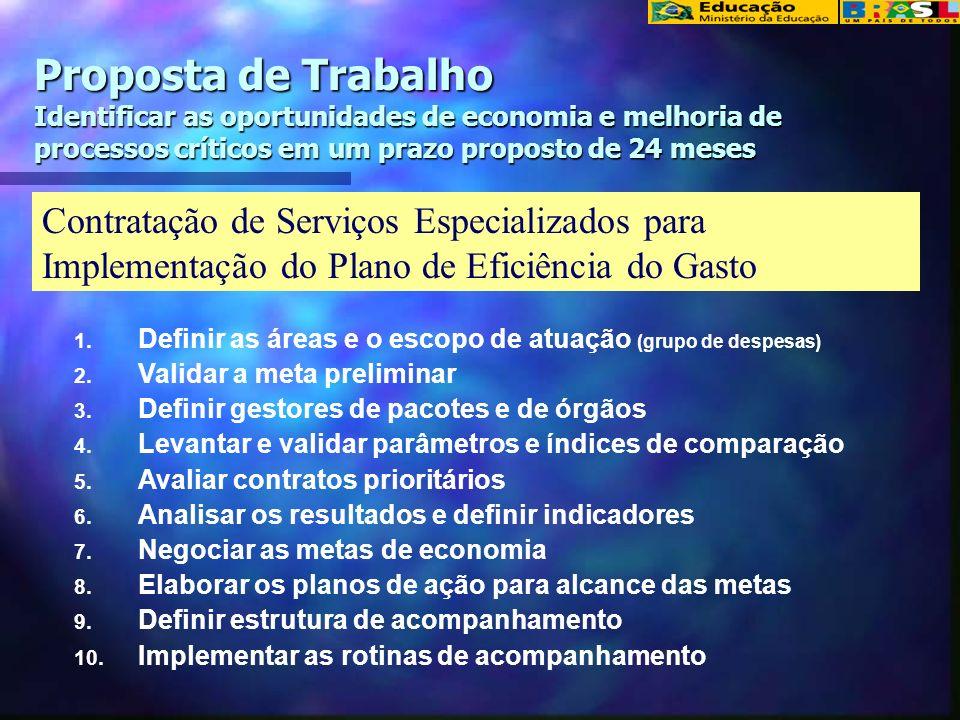 Proposta de Trabalho Identificar as oportunidades de economia e melhoria de processos críticos em um prazo proposto de 24 meses Contratação de Serviço