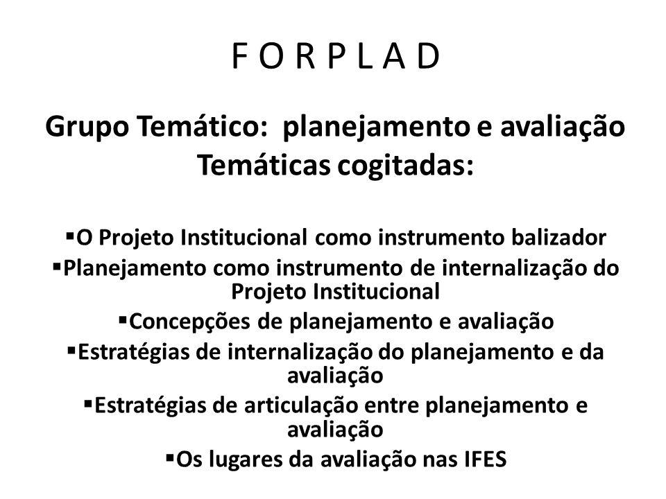 F O R P L A D Grupo Temático: planejamento e avaliação Temáticas cogitadas: O Projeto Institucional como instrumento balizador Planejamento como instr