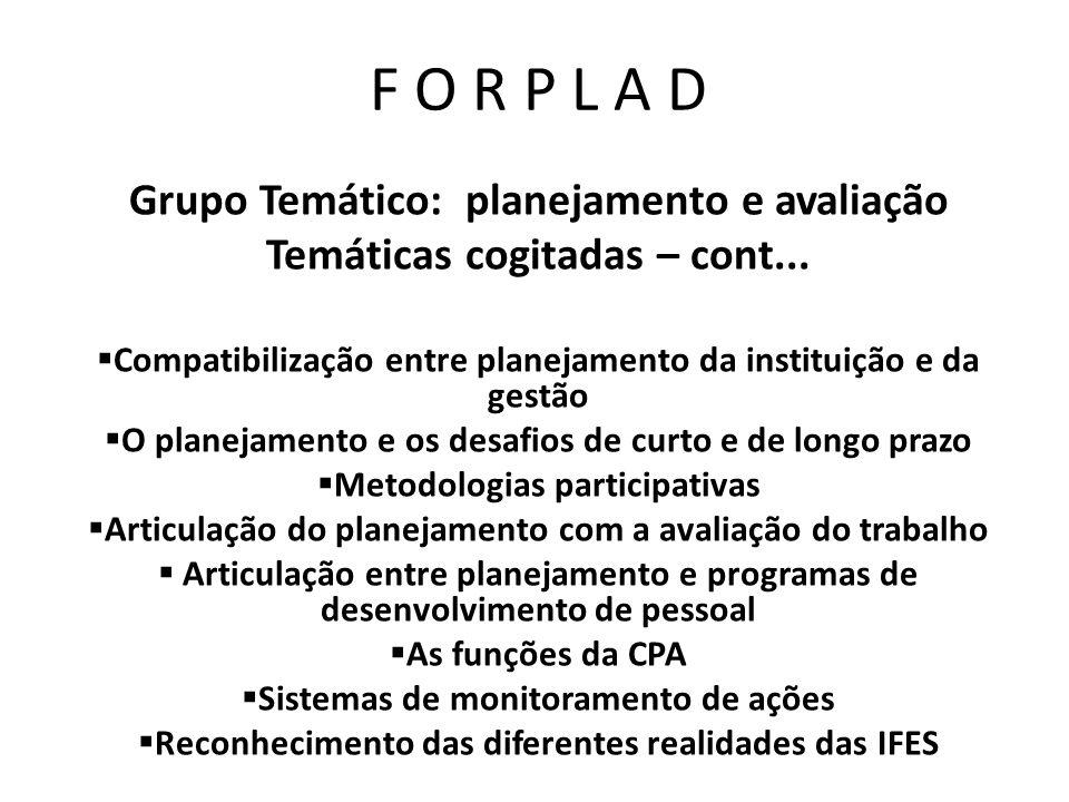 F O R P L A D Grupo Temático: planejamento e avaliação Temáticas cogitadas – cont... Compatibilização entre planejamento da instituição e da gestão O