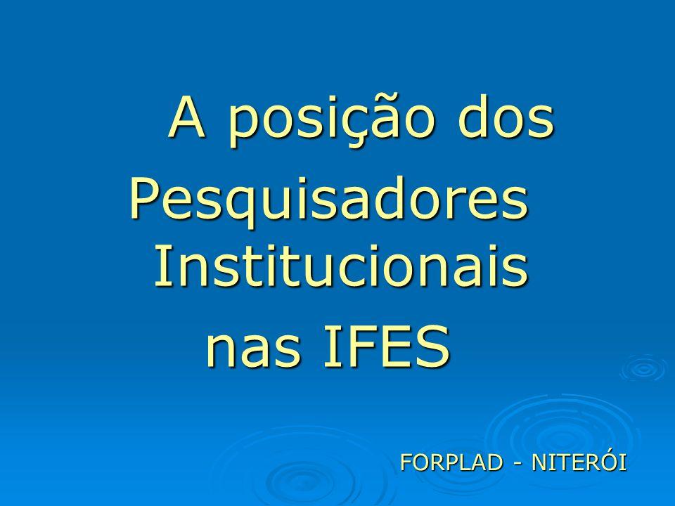 A posição dos Pesquisadores Institucionais nas IFES FORPLAD - NITERÓI