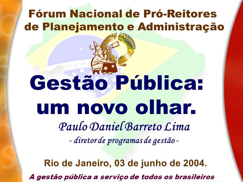 A gestão pública a serviço de todos os brasileiros Gestão Pública: um novo olhar. Paulo Daniel Barreto Lima - diretor de programas de gestão - Rio de
