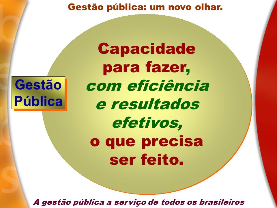Gestão pública: um novo olhar. Capacidade para fazer, com eficiência e resultados efetivos, o que precisa ser feito. Capacidade para fazer, com eficiê