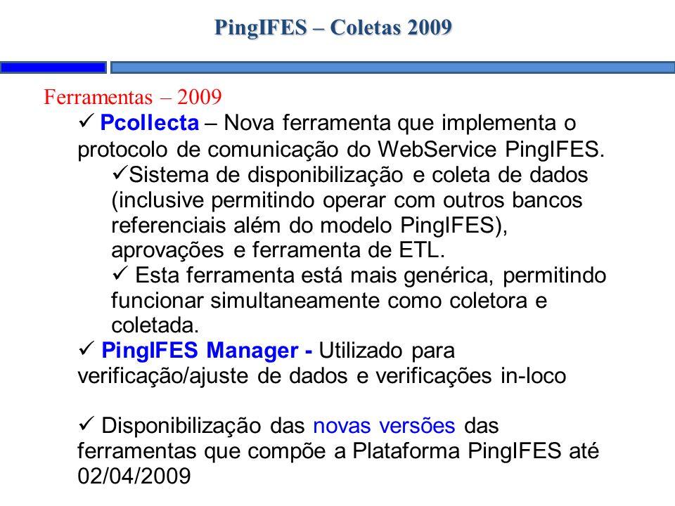 PingIFES – Coletas 2009 Ferramentas – 2009 Pcollecta – Nova ferramenta que implementa o protocolo de comunicação do WebService PingIFES. Sistema de di